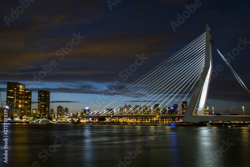 Foto auf AluDibond Schwan A view of the Erasmus Bridge over the the Nieuwe Maas (New Meuse) River . Cityscape at night. Rotterdam, The Netherlands.