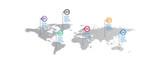 mapa świata Infographic szablon z opcjami ikon. plansza świata. biznes infographic dla prezentacji, układ, baner, wykres, wykres informacji.