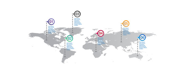 world map Infographic template with icons options . world infographic . business infographic for presentations, layout, banner, chart, info graph.