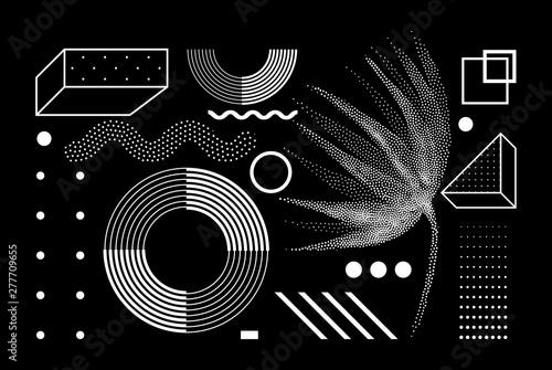 Universal trend halftone geometric shapes set Fototapeta