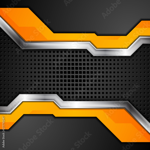 Orange Black Abstract Metallic Technology Background