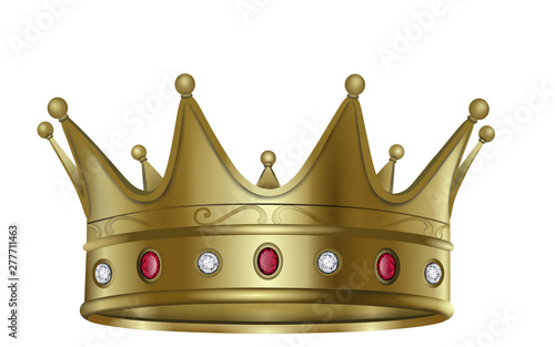 Valokuva Isolated gold crown with rubies and diamonds illustration vector
