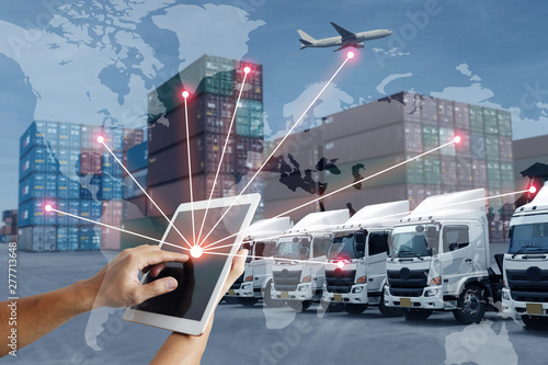Technology direct with logistics transportation with AI people and worldwide concept Canvas Print