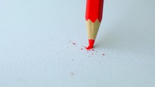 Red Colored Pencil With Broken...
