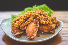 Prawn Paste Crispy Fried Chicken Served On Lettuce Leaf And White Plate