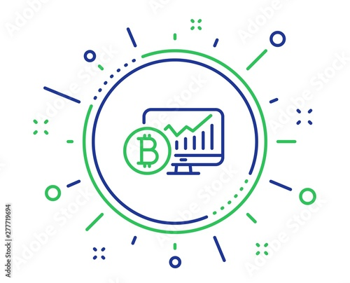 Bitcoin graph line icon  Cryptocurrency analytics sign