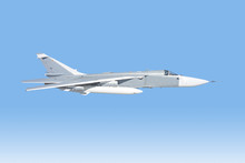 White Fighter Bomber Jet Isolated On Blue Sky Background Aerial Side View Of Modern Military Air Force Plane With External Fuel Tank Flying Aviation Combat Airplane Wallpaper