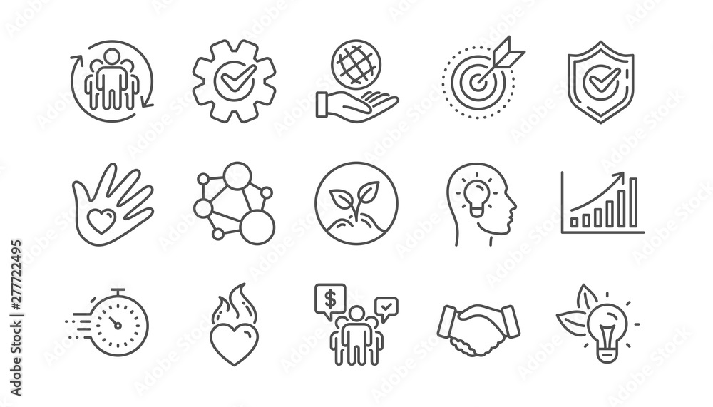 Fototapeta Core values line icons. Integrity, Target purpose and Strategy. Trust handshake, social responsibility, commitment goal icons. Linear set. Vector