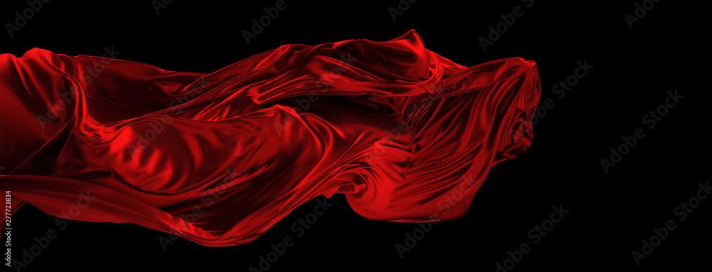 Fototapeta Fliegender roter Stoff aus Seide