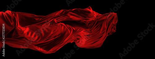 Fotografering Fliegender roter Stoff aus Seide