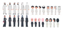 Arab Muslim Family Characters Isolated On White Background. Muslim Husband, Wife And Children Wearing Arabic Clothing Front, Rear, Side View. Vector Illustration In Flat Style.