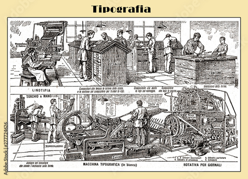 Fototapeta  Typography table end 19th century from an Italian Lexicon with Italian explainat