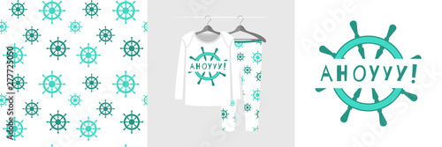 Photo Seamless pattern and illustration for kid with ship steering, text Ahoy
