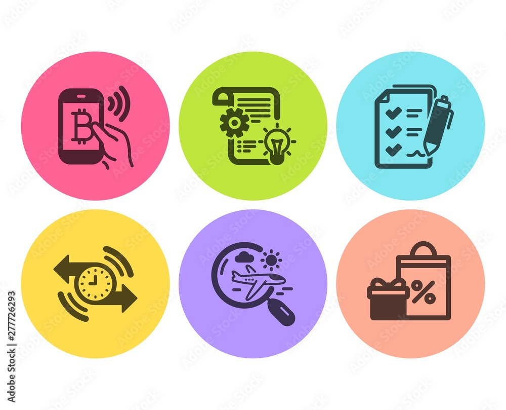 Fototapety, obrazy: Search flight, Cogwheel and Bitcoin pay icons simple set. Timer, Survey checklist and Shopping signs. Airplane trip, Idea bulb. Business set. Flat search flight icon. Circle button. Vector