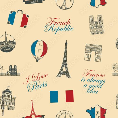 Tapety Francuskie  wektor-wzor-na-temat-francji-i-paryza-z-napisami-zabytki-architektury-i-flaga-republiki-francuskiej-w-stylu-retro-moze-byc-uzywany-jako-tlo-tapeta-papier-do-pakowania-lub-tkanina