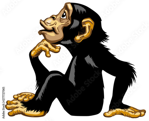 Obraz na plátně Cartoon Chimpanzee in thinker profile