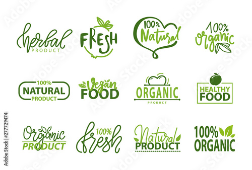 Fresh vegan food label, green poster natural and herbal product, 100 percent organic, healthy product, set of emblem on white, logo for natural food, market sticker vector