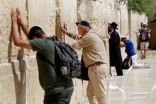 Jewish People Read Prayer Near Western Wailing Wall