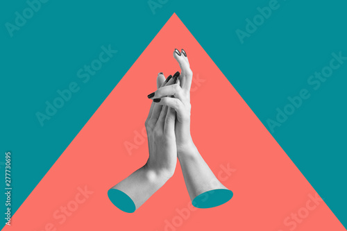 Modern conceptual art poster with a hands in a massurrealism style. Contemporary art collage.