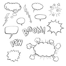 Hand Drawn Vector Speech Bubbles With Boom, Pow