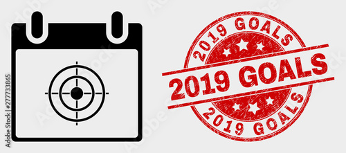 Photo  Vector target calendar page icon and 2019 Goals seal stamp