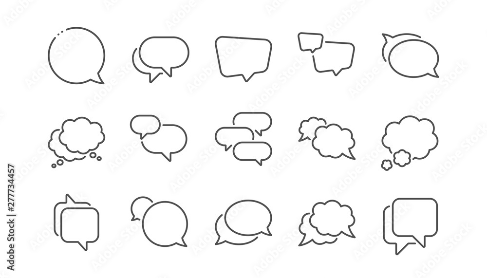 Fototapeta Speech bubbles line icons. Social media message, comic bubbles and chat. Think sticker, Comment speech and talk bubble icons. Linear set. Vector