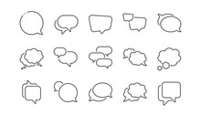 Speech Bubbles Line Icons. Soc...
