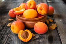 Fresh Organic Apricots In A Cl...
