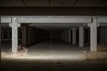 Inside Abandoned Concrete Building With Columns