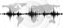Mini Earthquake Wave With Circle Vibration On World Map Background,audio Digital Diagram Concept,design For Education And Science,Vector Illustration.