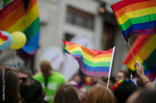 Cuadros en Lienzo Gay pride, LGBTQ rainbow flags being waved in the air at a pride event