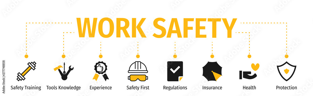 Fototapeta Banner Work Safety with icon