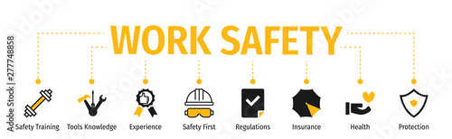 Obraz Banner Work Safety with icon - fototapety do salonu