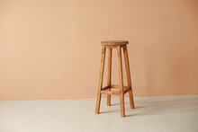 Round Wooden Stool With Beige ...