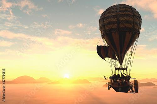 Photo hot air balloon going to the sun