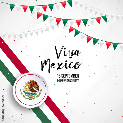16 September, Mexico Happy Independence Day greeting card. Waving mexican flags and balloons isolated on white background. Patriotic Symbolic background Vector illustration.