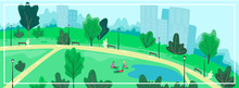 Urban Park Scenery With People. Summer Cityscape Banner. Vector Illustration, Cartoon Flat Style.