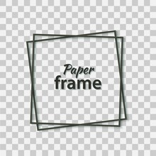 Paper Cut Black Frame With Realistic Shadow. Two Dark Inclined Square Frames Lie One On Another. Vector Card Illustration With Place For Selling Advertising Text. 3d Banner On Transparent Background