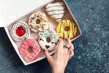 Donuts Over Dark Background