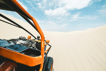 View From A Sand Buggy In The Desert Against A Blue Sky