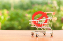 Red Prohibition Symbol NO On A Supermarket Trading Cart. Embargo, Trade Wars. Restriction On The Importation Of Goods, Proprietary For Business. Inability To Sell Products, Ban Imports. No Delivery.