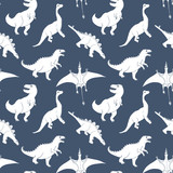 Fototapeta Dino - Dino Seamless Pattern, Cute Cartoon Hand Drawn Dinosaurs Doodles Vector Illustration