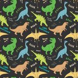 Fototapeta Dinusie - Dino Seamless Pattern, Cute Cartoon Hand Drawn Dinosaurs Doodles Vector Illustration