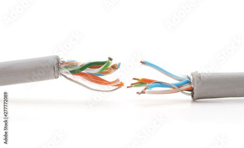 Damaged internet wires. Fototapet