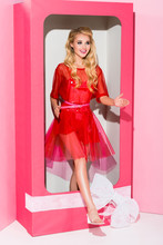 Beautiful Girl On Pink In Decorative Box, Doll Concept