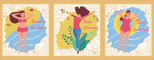 Set Of Three Summer Cards. Vec...