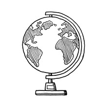 Hand Drawn Globe Doodle. Sketch Style Icon. Decoration Element. Isolated On White Background. Flat Design. Vector Illustration