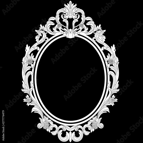 Photo  Vintage oval pattern frame in old style