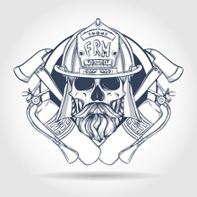Hand Drawn Sketch, Fireman Skull With Helmet, Beard And Mustaches, Fire Extinguisher And Axe. Poster, Flyer Design