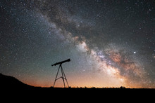 Silhouette Of A Telescope At T...
